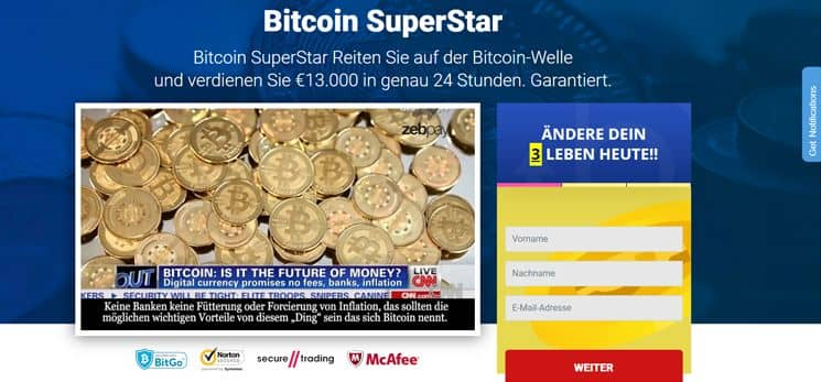 Bitcoin superstar registration